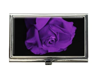 Rose Flower Purple Petals Business Credit Card Holder Case