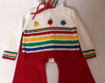 1980s Vintage Baby Hooded Sweater Set. Size 12-18 months