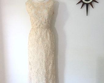 Vintage 1950s ribbon lace wedding dress wiggle dress by David Stock