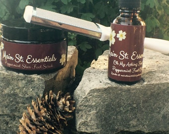 Peppermint Shea Foot Scrub and Foot Oil! A Callus Remover included!