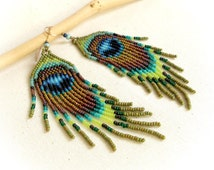 """Long earrings seed beads fringes """"Peacock feather""""- French designer- multicolored exclusif pattern"""