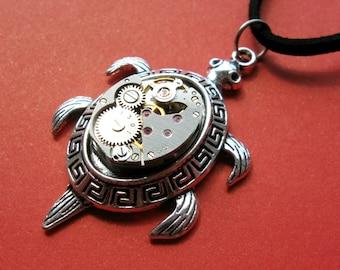 Turtle Steampunk pendant Steampunk Clockwork necklace Vintage Steampunk gift Watch pendant
