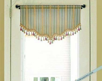 Shaped Valance for French Door or Narrow Window, Lined