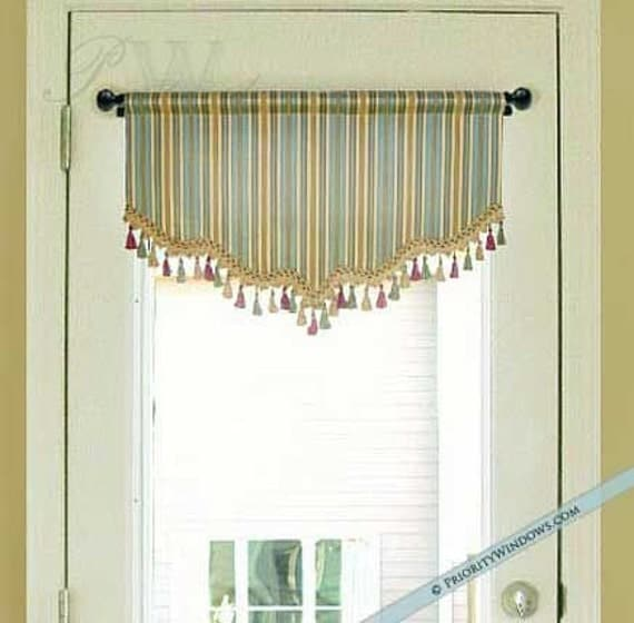 Shaped valance for french door or narrow window lined - Narrow window curtain ideas ...