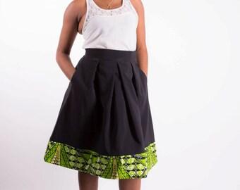 Jupe habillée noir et vert / Black and Green A-Line Skirt