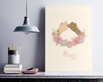 This Friendship's Legit, Digital Download, Vintage Style, Digital Print, Home Decor, Illustration, Downloadable File Only, Friendship