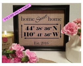 FRAMED Latitude Longitude Sign, Housewarming Gift, Wedding Gift Idea, Bridal Shower Gift, Wedding Gift, Home Decor Sign, Home Housewarming