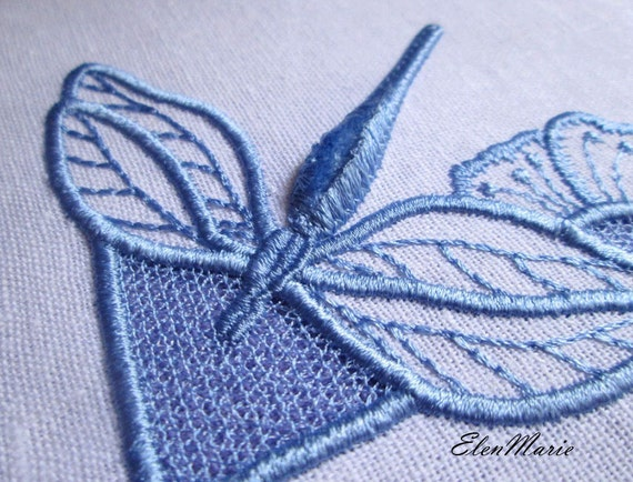 Machine embroidery design dragonfly cutwork velvet from