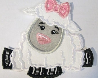 Ready to Ship in 1-3 Business Days - Easter Lamb Girl - Iron On or Sew On Embroidered Applique