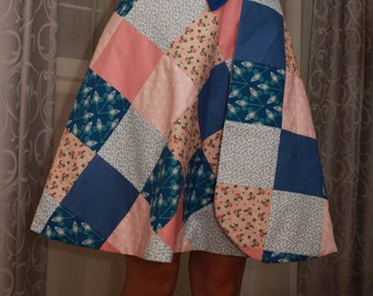 Reversible patchwork wrap skirt (Pink and Blue)