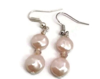 Freshwater Pearl Earrings with crystals and silver earwire