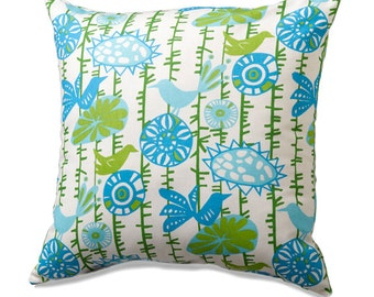 Blue and Green Birds on a Vine Throw Pillow