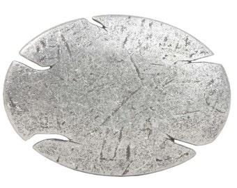 Oval Antique Silver Hammered Belt Buckle