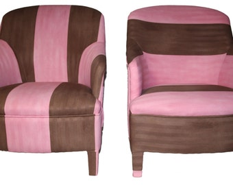 Strawberry and CHOCOLATE upholstered armchairs
