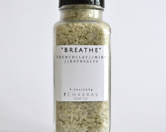 Dead Sea Bath Salt with peppermint essential oil - Sinus clearing, stress relief - Natural