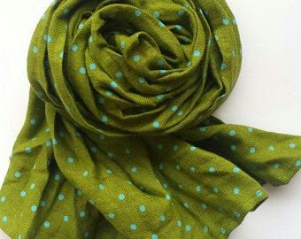 Linen Kids Wrap Polka Dot Scarf Linen Child scarf Mint dots Kids Summer accessories Handmade Crinkled Scarf Kids Fashion