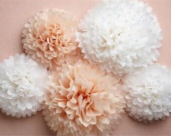 """40 (14"""") de pompones flor de papel, bolas de flores, decoración, decoración, poms de flor de papel, ducha de bebé, decoraciones de la fiesta de compromiso de boda"""