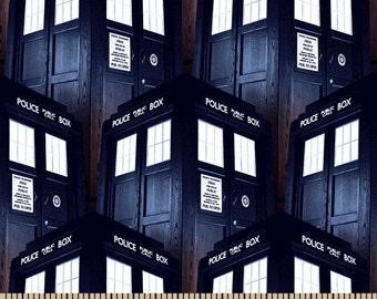 Dr. Who Fabric, Doctor Who Tardis Cotton Fabric, Doctor Who Tardis Navy Blue100% Cotton Fabric by the Yard