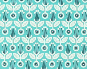 SALE - Deco Floral Spearmint - Grey Abbey - Cloud9 Fabrics - Organic Cotton Poplin by the Yard