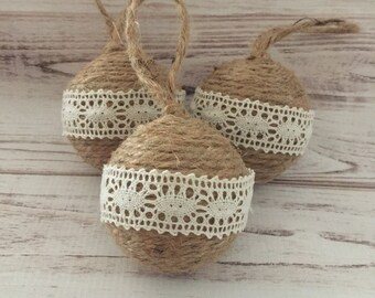 Twine Ornaments, Lace Ornaments, Rustic Christmas Ornaments, Ornament Set, Christmas Decorations, Housewarming Gift, Gift For Her, Handmade