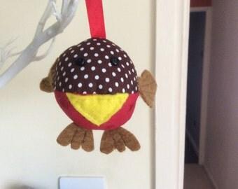 Fabric Robin Christmas tree decoration, robin tree bauble, Christmas tree ornament
