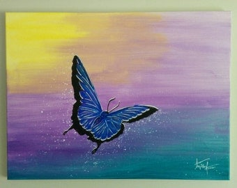 Collection: stencil art, stencil art, by tapderf. Acrylic paint. Butterfly