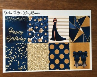 Septemeber Birthday Day Boxes ECLP Stickers Mambi Inkwell Press Filofax Kikki K Happy Life Planner sapphire gold glitter