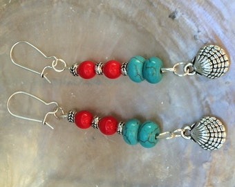 Earrings silver shell turquoise beads