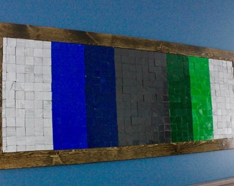 3D Colored Wood Mosaic Wall Art