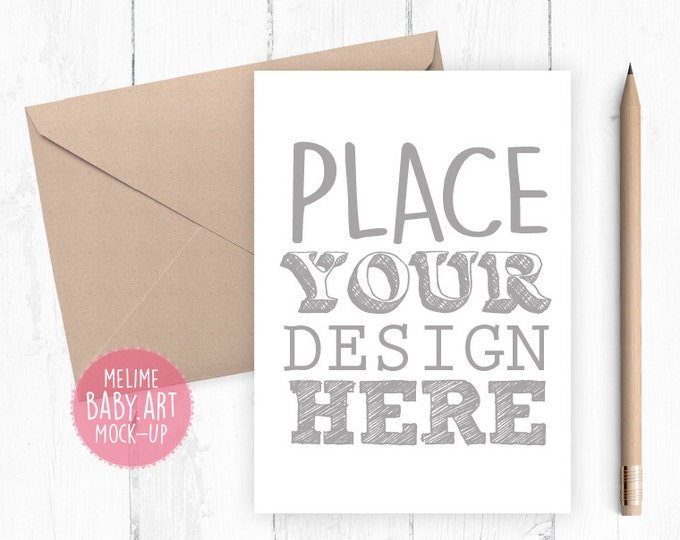 Card Mockup, Portrait Cards Mockup, 5x7 Card Mockup, Card and Kraft Envelope Mockup (5x7Card2.Basic)