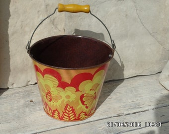 Vintage Russian Bucket Childs Norma Sand Pail Litho Tin Toy Tin Bucket USSR Butterflies and Bumble Bees