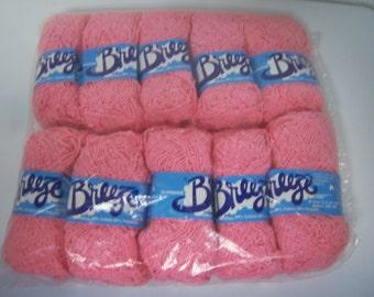 Brunswick Yarn, Breeze, 10 Skeins, 1.4 Oz Each, 80% Cotton 20 Polyester, Lot 8 4943, Shade 2457, Seashell Pink, Nubby Yarn