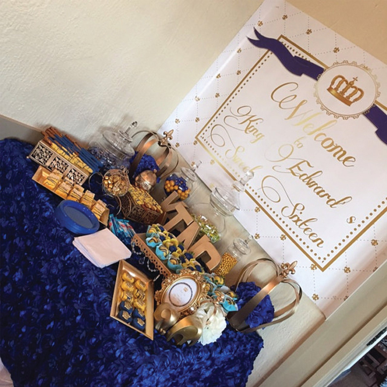 Royal blue and gold prince crown baptism christening