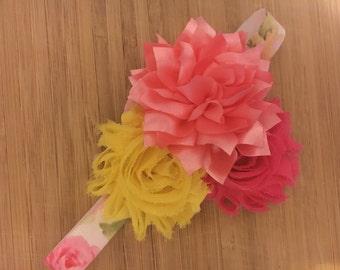 Floral Baby Headband, Pink Headband, Shabby Chic Headband, Newborn Headband, Baby Photo
