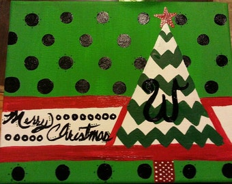 Personalize Hand Painted Christmas Tree Sign