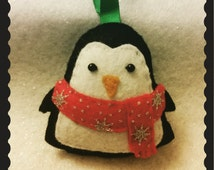 Handmade Felt Penguin with Scarf hanging decoration