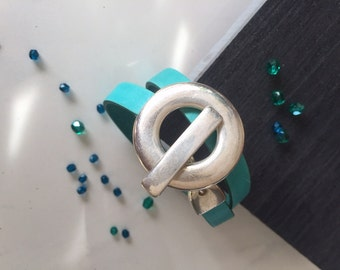 Bracelet double original clasp T silver and turquoise leather