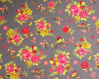 Fiora (taupe) - cotton fabric with floral print - 0, 5m
