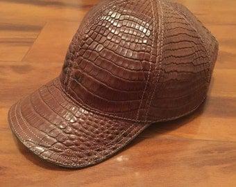 Genuine Alligator Skin Cap Chocolate brown & Black