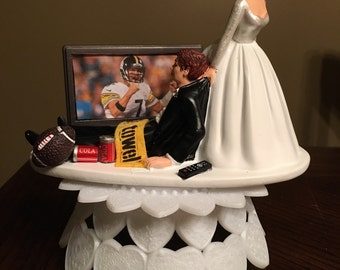 Steelers wedding cake topper bride and groom