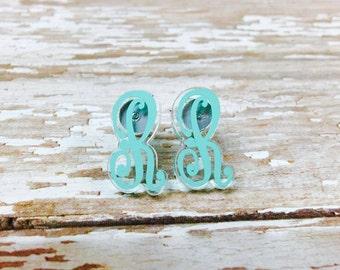 Initial Acrylic Earrings