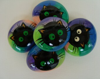 Flint hand-painted black cats-lucky stone-birthstone-cat stone-cat gift idea