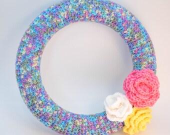 "Crochet Spring Flower Wreath - 12"" READY TO SHIP"