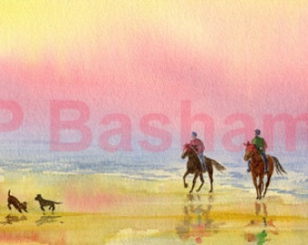 Evening Canter, print by Peter Basham, from an original watercolour, horse riders on a sunset beach
