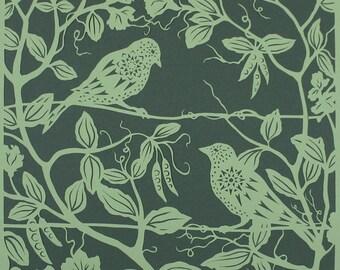 Bird papercut - Sparrows in Sweet Peas - print from an original handmade art work.
