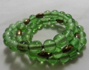 Green and Bronze Glass bracelet on Memory Wire