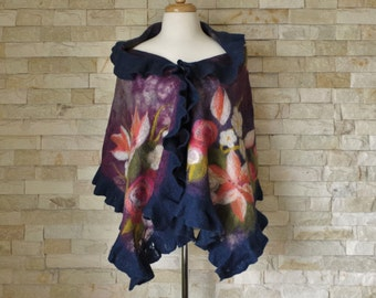 Felted Wrap - Purple & Blue Floral Nuno Felted Shawl with Ruffle, Wearable Art