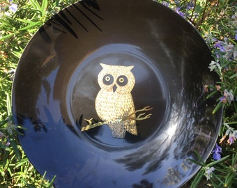 Couroc Owl Plate, Mid Century Couroc of Monterey Owl Plate, Inlaid Metal Bird Plate