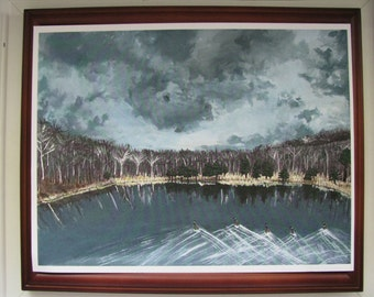 Painting Print Acrylic-Coming Storm-West Virginia-Winter-Clouds-Home Decor-Art-Lake-Mountain-Trees-Geese