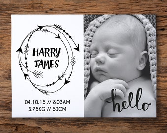 Printable birth announcement - arrows // monochrome // custom personalised design //  6x4inch